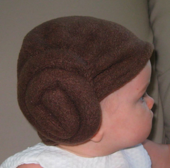 Make this awesome Princess Leia baby hat
