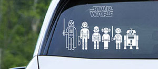 Star Wars family decals are way cooler than the stick figure ones most families have.