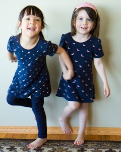 Thea and Grace in dresses